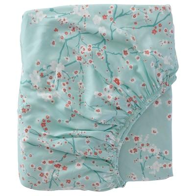 ASKLÖNN Fitted sheet, green/Cherry blossom branch, 90x200 cm