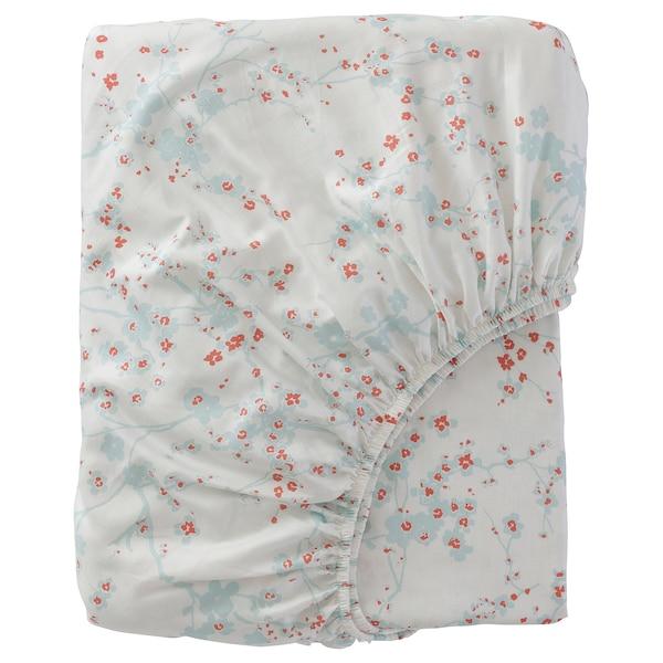 ASKLÖNN Fitted sheet, white/Cherry blossom branch, 180x200 cm