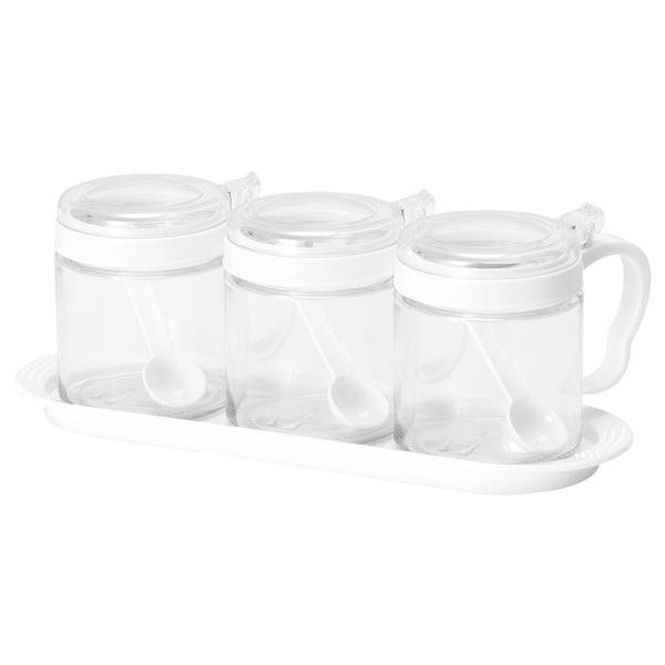 BÄRKORG Spice jar, glass/plastic, 36 cl 3 pieces