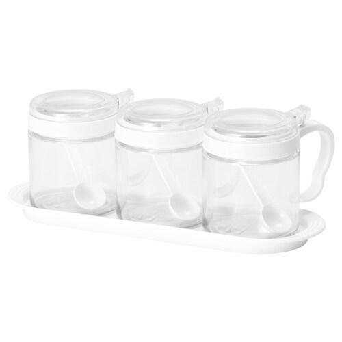 BÄRKORG spice jar glass/plastic 11 cm 9 cm 36 cl 3 pieces