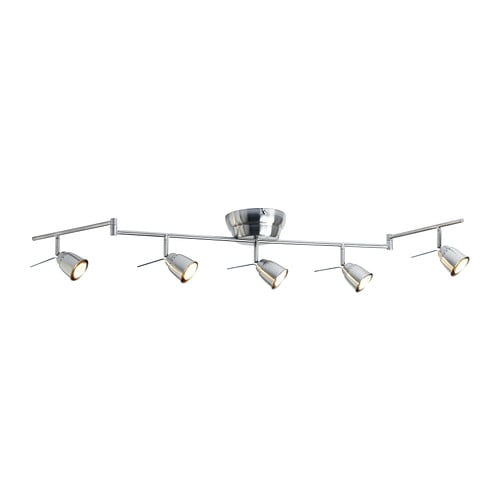 BAROMETER Ceiling track, 5-spots IKEA Adjustable arms and spotlights allow you to direct the light.