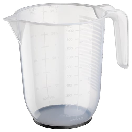 BEHÖVA measuring jug transparent/grey 14 cm 1 l