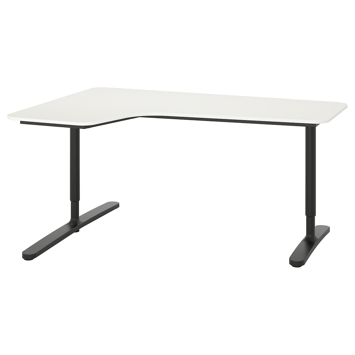 BEKANT Corner desk left - white, black 46x46 cm