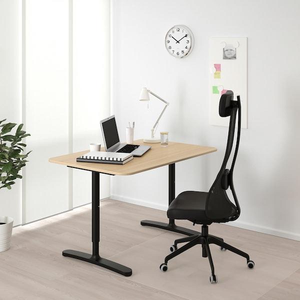 BEKANT Desk - white stained oak veneer/black - IKEA