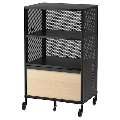 BEKANT Storage unit on castors, mesh black, 61x101 cm