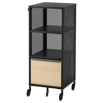 BEKANT Storage unit with smart lock, mesh black, 41x101 cm