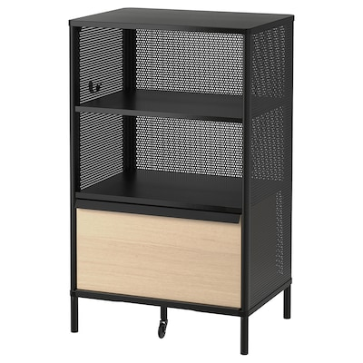 BEKANT Storage unit with smart lock, mesh black, 61x101 cm