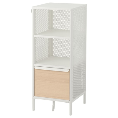 BEKANT Storage unit with smart lock, mesh white, 41x101 cm