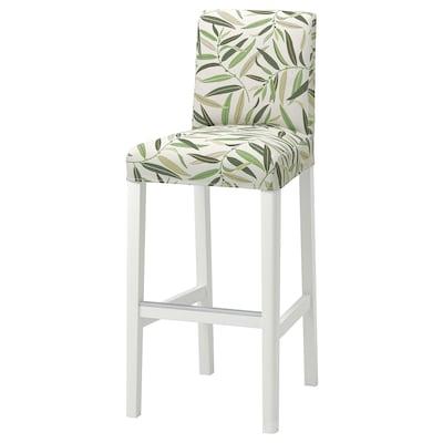 BERGMUND Cover for bar stool with backrest, Fågelfors multicolour