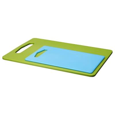 BERGTUNGA Chopping board, set of 2, green/blue