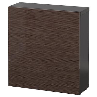 BESTÅ Shelf unit with door, black-brown/Selsviken high-gloss/brown, 60x22x64 cm
