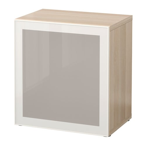 best shelf unit with glass door white stained oak effect glassvik white frosted glass ikea. Black Bedroom Furniture Sets. Home Design Ideas