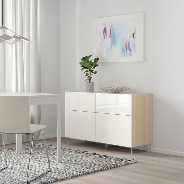 BESTÅ Storage combination w doors/drawers, white stained oak effect/Selsviken/Stallarp high-gloss/white, 120x40x74 cm