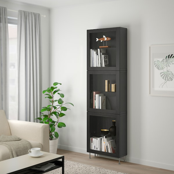BESTÅ Storage combination w glass doors, black-brown/Sindvik/Stallarp black-brown clear glass, 60x22x202 cm