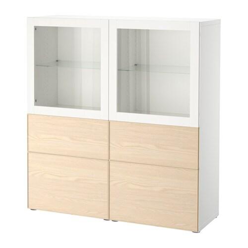 Ikea Besta Vitrine bestå storage combination w glass doors white inviken ash veneer