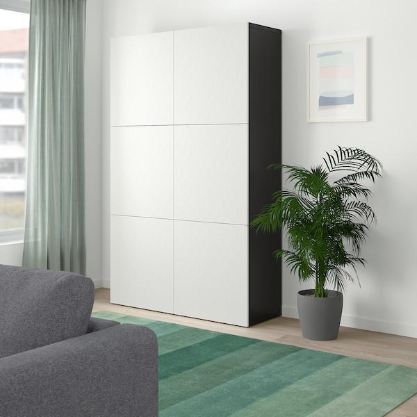 BESTÅ Storage combination with doors, black-brown/Vassviken white, 120x40x192 cm