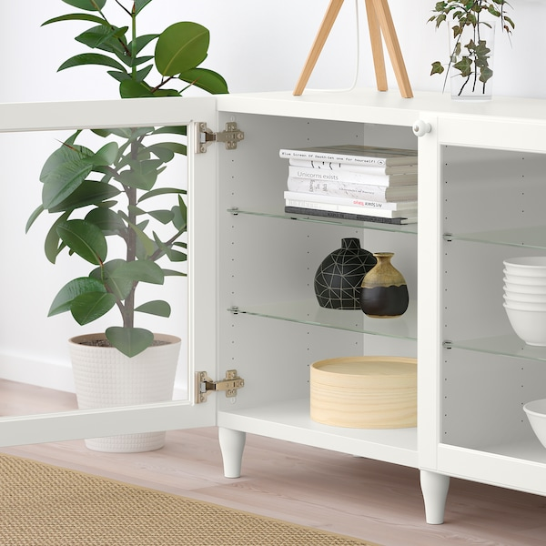 BESTÅ Storage combination with doors, white/Ostvik/Kabbarp white clear glass, 180x42x74 cm