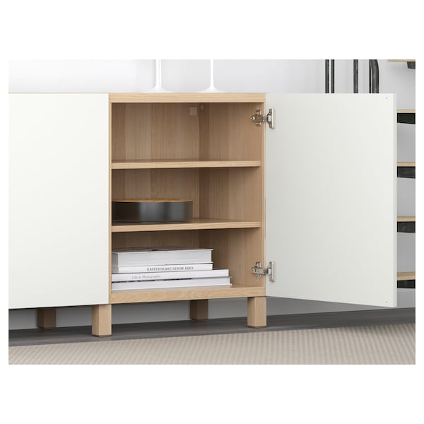 BESTÅ Storage combination with doors, white stained oak effect/Lappviken white, 180x40x74 cm