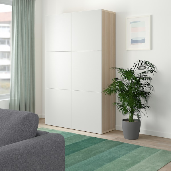BESTÅ Storage combination with doors, white stained oak effect/Laxviken white, 120x40x192 cm