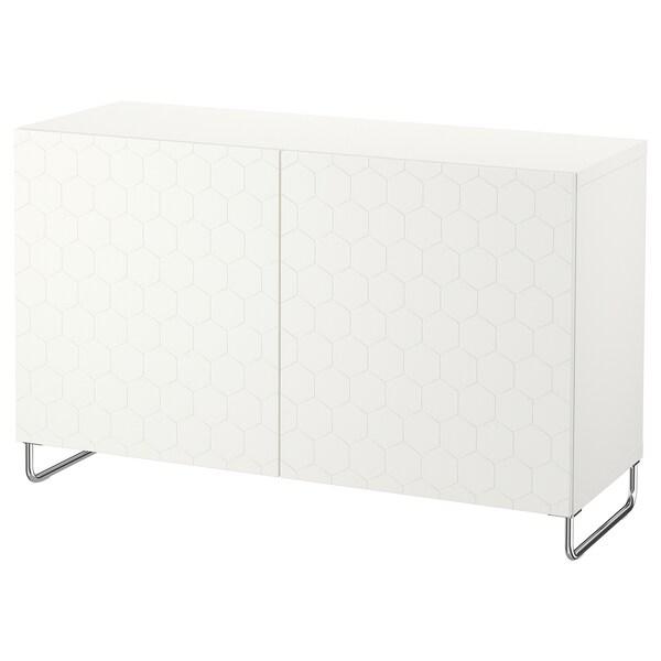 BESTÅ storage combination with doors white/Vassviken/Sularp white 120 cm 40 cm 74 cm