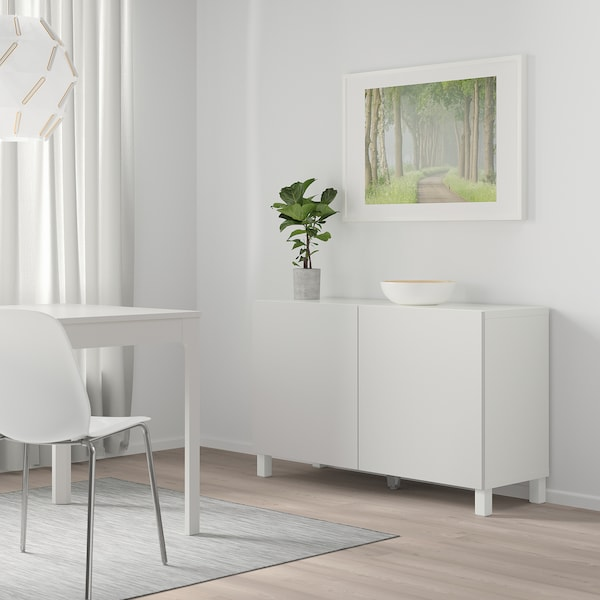 BESTÅ storage combination with doors white/Lappviken light grey 120 cm 40 cm 74 cm