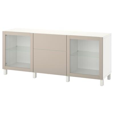 BESTÅ Storage combination with drawers, white Lappviken/Stubbarp/light grey-beige clear glass, 180x42x74 cm