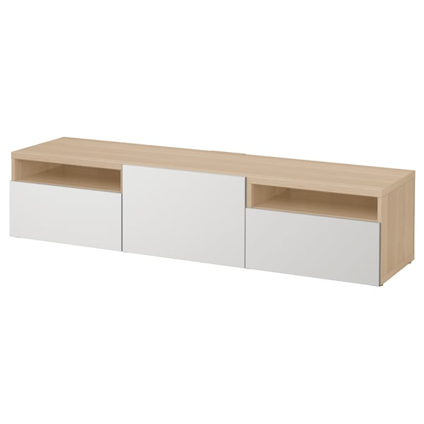 BESTÅ TV bench, white stained oak effect/Lappviken light grey, 180x42x39 cm