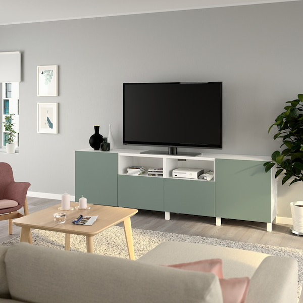 BESTÅ TV bench with doors and drawers, white/Notviken/Stubbarp grey-green, 240x42x74 cm