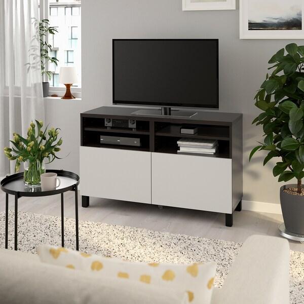 BESTÅ TV bench with doors, black-brown/Lappviken/Stubbarp light grey, 120x42x74 cm