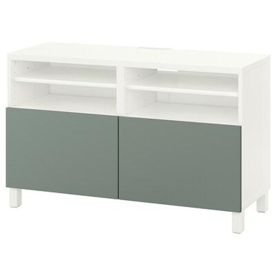 BESTÅ TV bench with doors, white/Notviken/Stubbarp grey-green, 120x42x74 cm