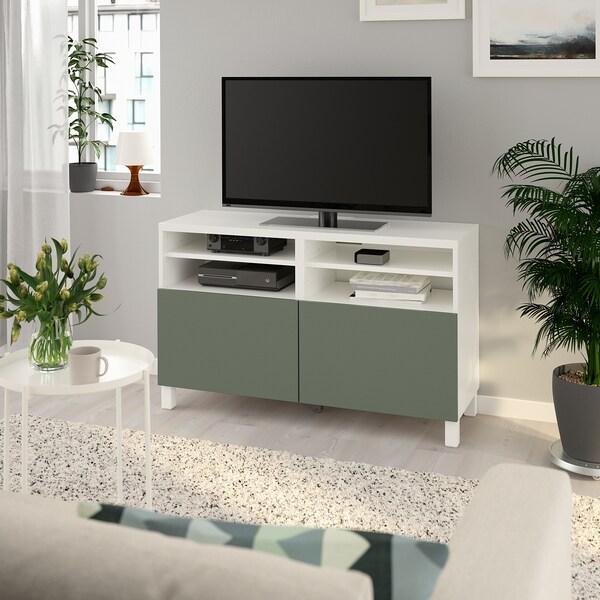 Besta Tv Bench With Doors White Notviken Stubbarp Grey Green Ikea