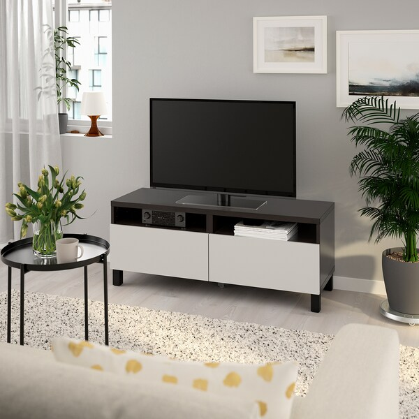 BESTÅ TV bench with drawers, black-brown/Lappviken/Stubbarp light grey, 120x42x48 cm