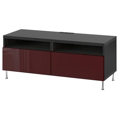 BESTÅ TV bench with drawers, black-brown Selsviken/Stallarp/high-gloss dark red-brown, 120x42x48 cm