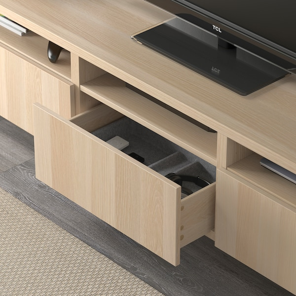 BESTÅ TV bench with drawers Lappviken white stained oak effect 180 cm 40 cm 48 cm
