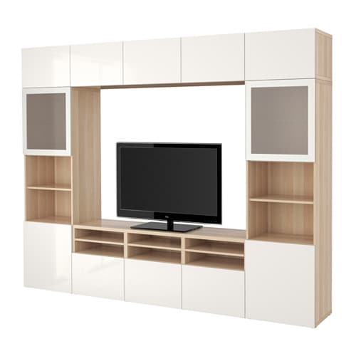 best tv storage combination glass doors white stained oak effect selsviken high gloss white. Black Bedroom Furniture Sets. Home Design Ideas