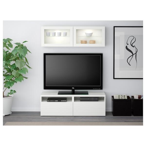 BESTÅ TV storage combination/glass doors Lappviken/Sindvik white clear glass 120 cm 166 cm 20 cm 40 cm