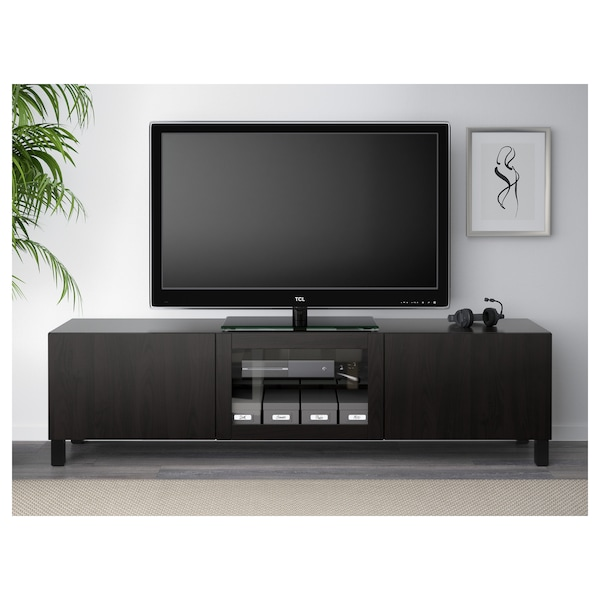 BESTÅ TV bench with drawers and door Lappviken black-brown clear glass 180 cm 40 cm 48 cm 50 kg