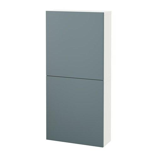 Besta Wall Cabinet With 2 Doors White Valviken Grey Turquoise Ikea