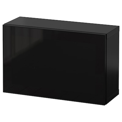 BESTÅ Wall-mounted cabinet combination, black-brown Glassvik/black smoked glass, 60x22x38 cm