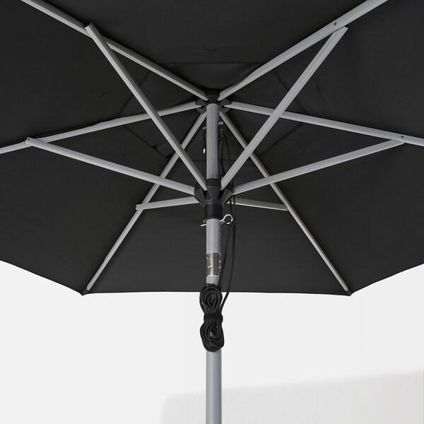 BETSÖ / LINDÖJA Parasol with base, grey wood effect black/Huvön, 300 cm