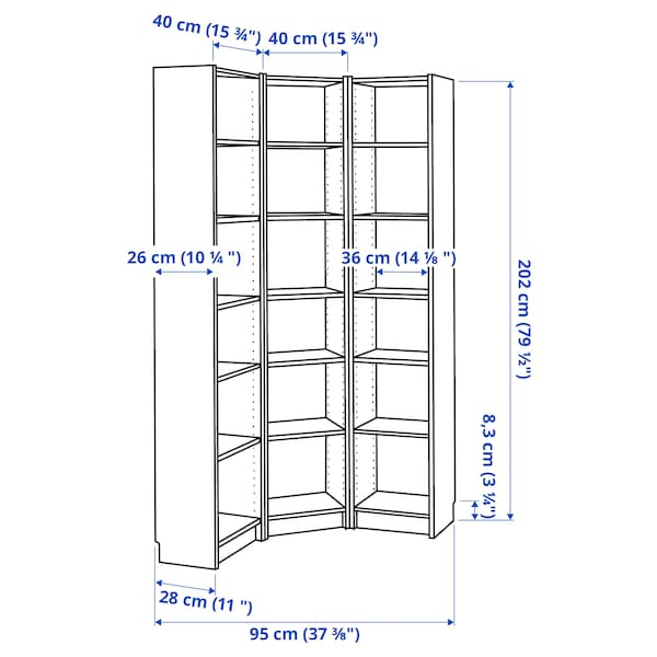 BILLY Bookcase combination/crnr solution, black-brown, 95/95x28x202 cm