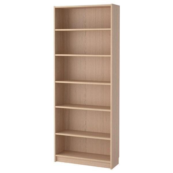 BILLY Bookcase, white stained oak veneer, 80x28x202 cm
