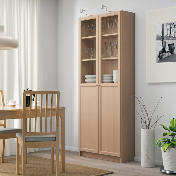 BILLY Bookcase with panel/glass doors, white stained oak veneer, 80x30x202 cm