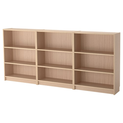 BILLY bookcase white stained oak veneer 240 cm 28 cm 106 cm 30 kg