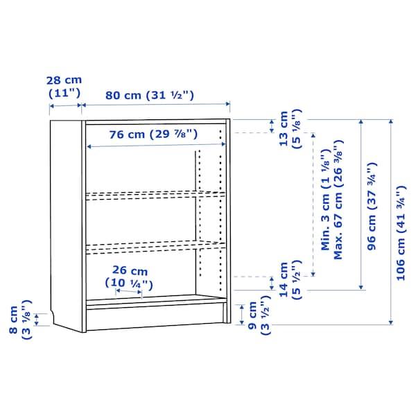 BILLY bookcase white stained oak veneer 80 cm 28 cm 106 cm 30 kg