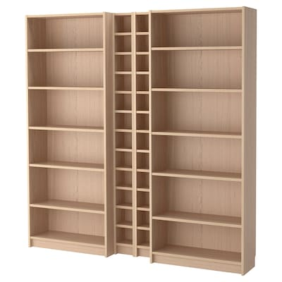BILLY / GNEDBY Bookcase, white stained oak veneer, 200x28x202 cm