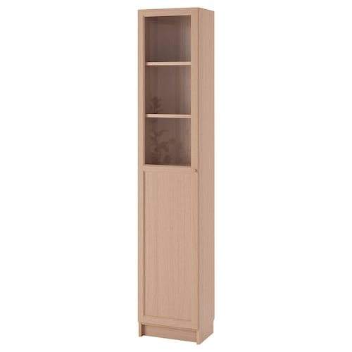 BILLY / OXBERG bookcase with panel/glass door white stained oak veneer/glass 40 cm 30 cm 202 cm 14 kg