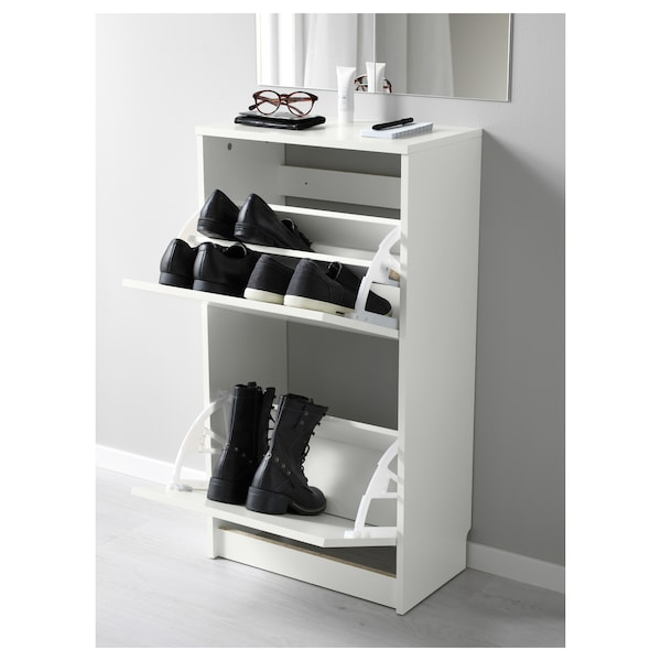 BISSA Shoe cabinet with 2 compartments, white, 49x28x93 cm