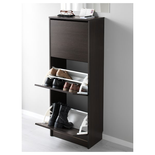 BISSA Shoe cabinet with 3 compartments, black/brown, 49x28x135 cm