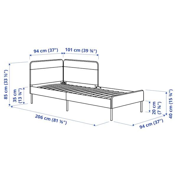 BLÅKULLEN Uph bed frame with corner headboard, Knisa medium blue, 90x200 cm